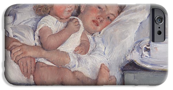 Bed Linens iPhone Cases - Breakfast In Bed iPhone Case by Mary Cassatt