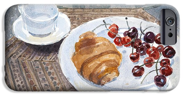Breakfast iPhone Cases - Breakfast In Syria, 2010 Wc On Paper iPhone Case by Lucy Willis