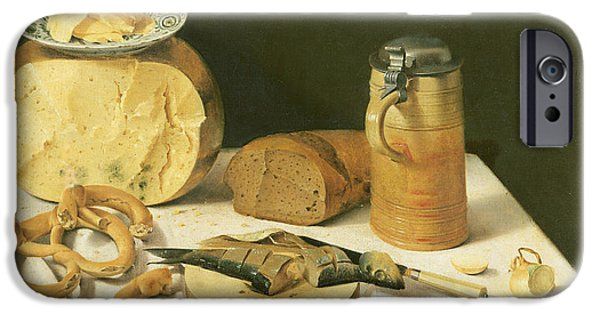 Bread iPhone Cases - Breakfast Still Life Oil On Canvas iPhone Case by Johann Georg Hinz