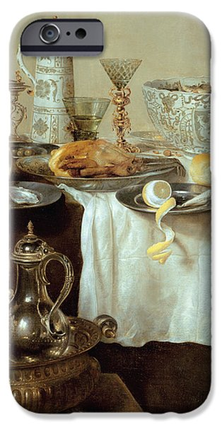 Goblet iPhone Cases - Breakfast Still Life iPhone Case by Willem Claesz Heda