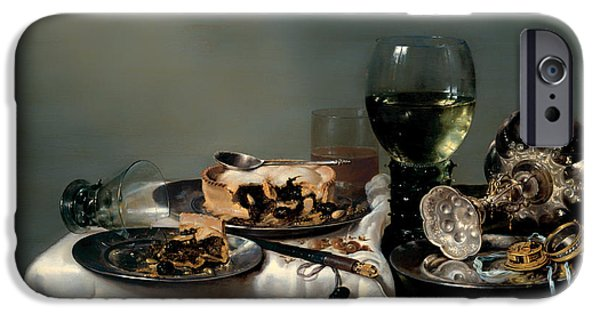 Table Wine iPhone Cases - Breakfast Table with Blackberry Pie iPhone Case by Willem Clasz Heda