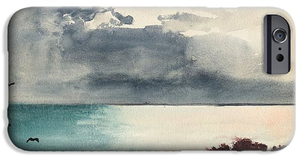 Maine Landscapes Paintings iPhone Cases - Breaking Storm Coast of Maine iPhone Case by Winslow Homer