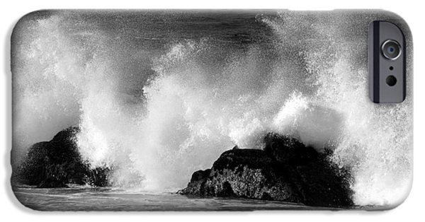 Fury iPhone Cases - Breaking Wave at Pacific Grove iPhone Case by James B Toy