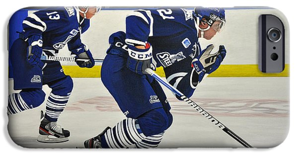 Hockey Paintings iPhone Cases - Breakout iPhone Case by Kenneth M  Kirsch
