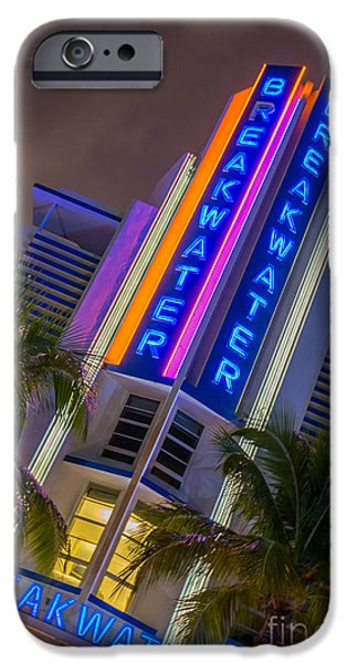 Ianmonk iPhone Cases - Breakwater Hotel Art Deco District SOBE Miami iPhone Case by Ian Monk