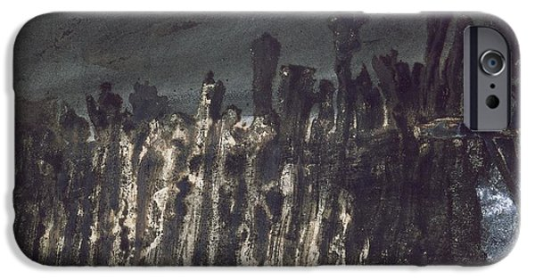 Abstract Expressionist Drawings iPhone Cases - Breakwater in Jersey iPhone Case by Victor Hugo