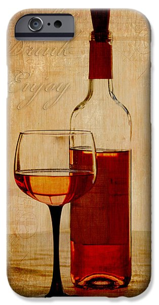Winetasting iPhone Cases - Breathe Drink Enjoy iPhone Case by Fran Riley