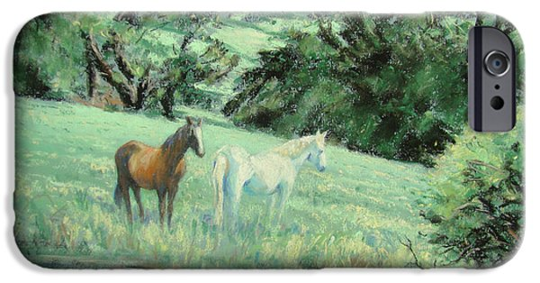 The Horse Pastels iPhone Cases - Breathing in strength unsaddled iPhone Case by Sheila  Vickers