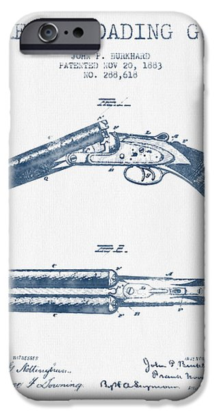 Weapon iPhone Cases - Breech Loading Gun Patent Drawing from 1883 -  Blue Ink iPhone Case by Aged Pixel