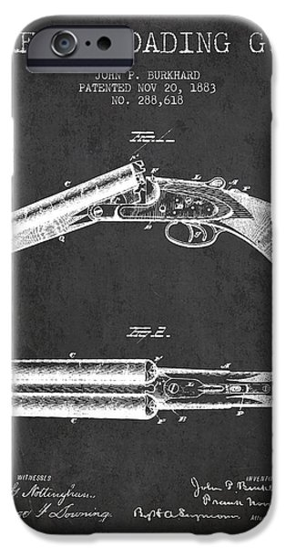 Weapon iPhone Cases - Breech Loading Gun Patent Drawing from 1883 - Dark iPhone Case by Aged Pixel