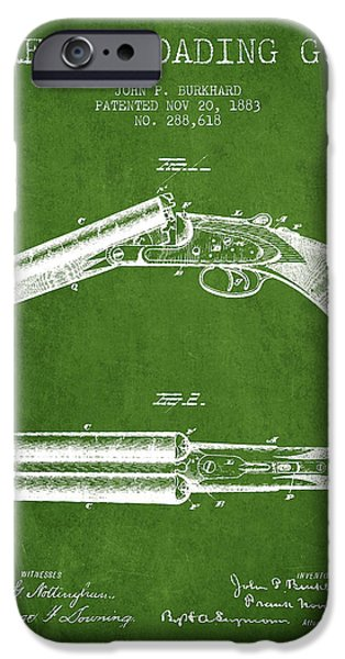 Small Digital Art iPhone Cases - Breech Loading Gun Patent Drawing from 1883 - Green iPhone Case by Aged Pixel