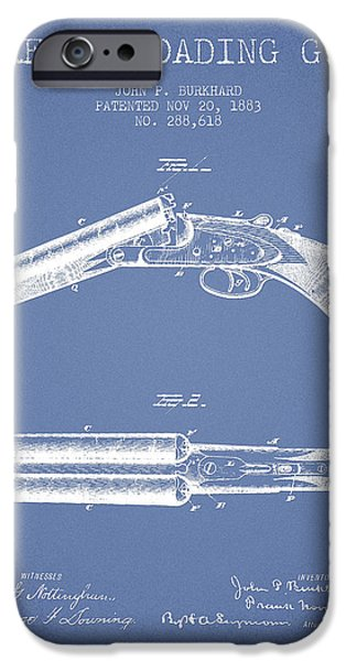 Weapon iPhone Cases - Breech Loading Gun Patent Drawing from 1883 - Light Blue iPhone Case by Aged Pixel