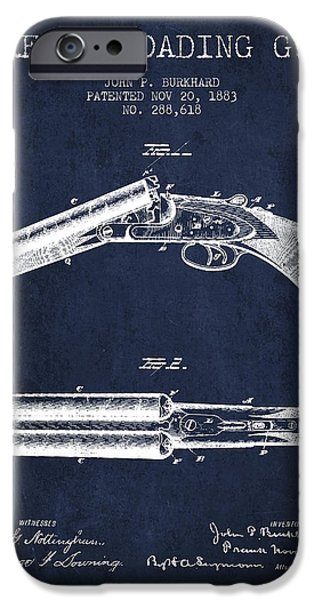 Weapon iPhone Cases - Breech Loading Gun Patent Drawing from 1883 - Navy Blue iPhone Case by Aged Pixel