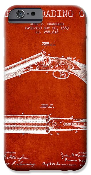Weapon iPhone Cases - Breech Loading Gun Patent Drawing from 1883 - Red iPhone Case by Aged Pixel