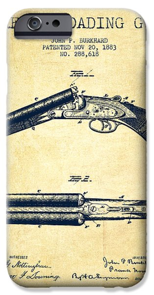 Weapon iPhone Cases - Breech Loading Gun Patent Drawing from 1883 - Vintage iPhone Case by Aged Pixel