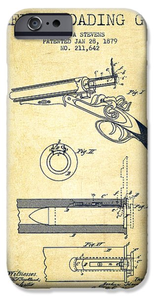 Weapon Digital iPhone Cases - Breech Loading Shotgun Patent Drawing from 1879 - Vintage iPhone Case by Aged Pixel