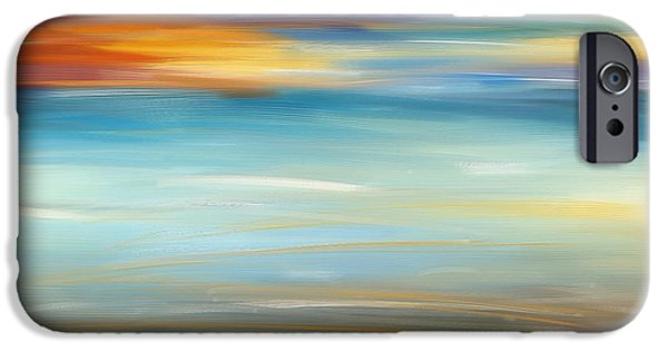 Abstract Seascape iPhone Cases - Breeze-Seascapes Abstract Art iPhone Case by Lourry Legarde