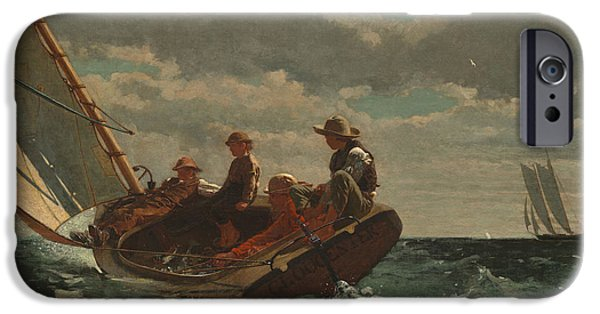 1876 Paintings iPhone Cases - Breezing Up - A Fair Wind iPhone Case by Winslow Homer