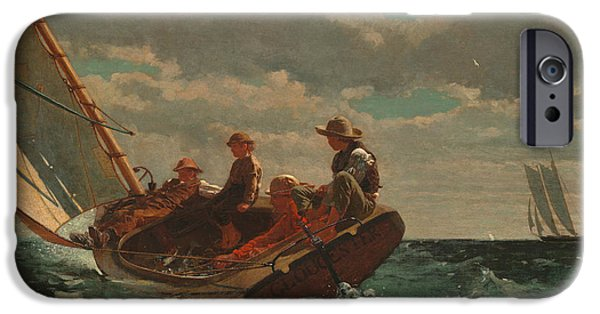 1876 Paintings iPhone Cases - Breezing Up.A Fair Wind iPhone Case by Winslow Homer