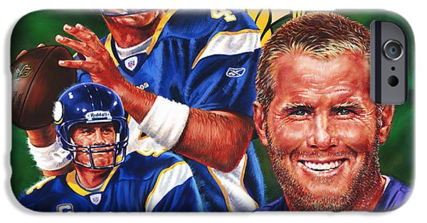 Vikings Paintings iPhone Cases - Bret Favre iPhone Case by Dick Bobnick
