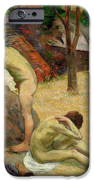 Young Paintings iPhone Cases - Breton Boys Bathing iPhone Case by Paul Gauguin