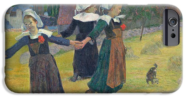 Young Paintings iPhone Cases - Breton Girls Dancing iPhone Case by Paul Gauguin