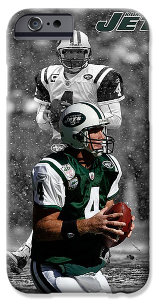 BRETT FAVRE JETS iPhone Case by Joe Hamilton