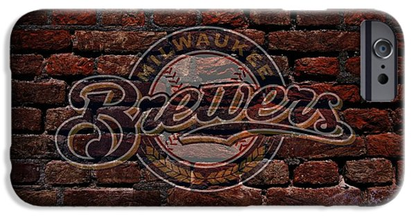 Business Digital Art iPhone Cases - Brewers Baseball Graffiti on Brick  iPhone Case by Movie Poster Prints
