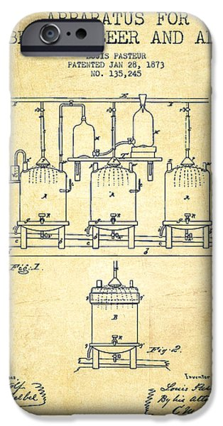 Technical iPhone Cases - Brewing Beer and Ale Apparatus Patent Drawing from 1873 - Vintag iPhone Case by Aged Pixel