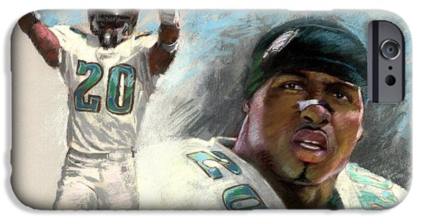 Philadelphia Drawings iPhone Cases - Brian Dawkins iPhone Case by Viola El