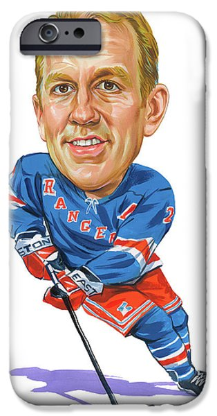 Hockey Paintings iPhone Cases - Brian Leetch iPhone Case by Art