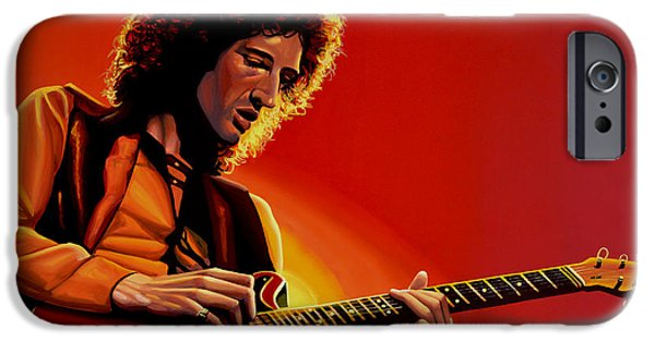 Celebrities Portrait iPhone Cases - Brian May iPhone Case by Paul Meijering