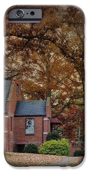 Fall Scenes iPhone Cases - Brick Church in Autumn - Fall Landscape Scene iPhone Case by Jai Johnson