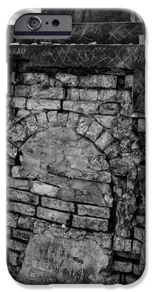 Chrystal iPhone Cases - Brick Oven Grave in Black and White iPhone Case by Chrystal Mimbs