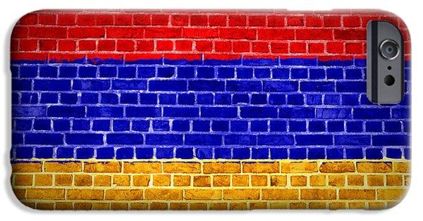 Built Structure Digital Art iPhone Cases - Brick Wall Armenia iPhone Case by Antony McAulay