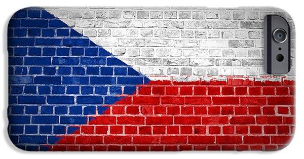 Czech Republic Digital iPhone Cases - Brick Wall Czech Republic iPhone Case by Antony McAulay