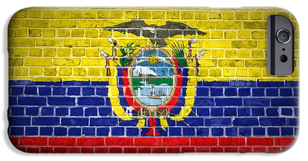 Built Structure Digital Art iPhone Cases - Brick Wall Ecuador iPhone Case by Antony McAulay
