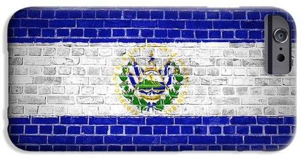Built Structure Digital Art iPhone Cases - Brick Wall El Salvador iPhone Case by Antony McAulay