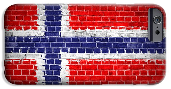 Norway iPhone Cases - Brick Wall Norway iPhone Case by Antony McAulay