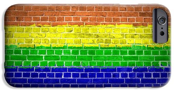 Dirty iPhone Cases - Brick Wall Rainbow iPhone Case by Antony McAulay