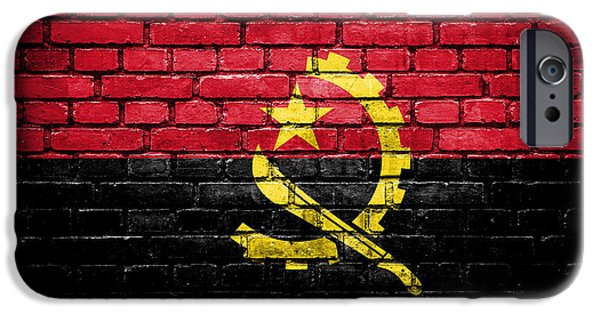 Dirty iPhone Cases - Brick wall with painted flag of Angola iPhone Case by Aleksandar Mijatovic