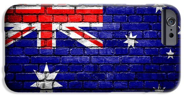 Torn iPhone Cases - Brick wall with painted flag of Australia iPhone Case by Aleksandar Mijatovic