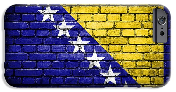Torn iPhone Cases - Brick wall with painted flag of Bosnia and Herzegovina iPhone Case by Aleksandar Mijatovic