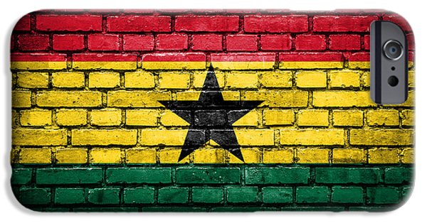 Patriots iPhone Cases - Brick wall with painted flag of Ghana iPhone Case by Aleksandar Mijatovic