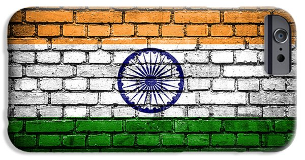 Torn iPhone Cases - Brick wall with painted flag of India iPhone Case by Aleksandar Mijatovic