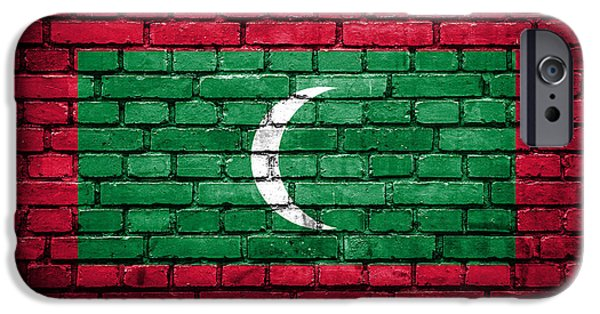 Torn iPhone Cases - Brick wall with painted flag of Maldives iPhone Case by Aleksandar Mijatovic