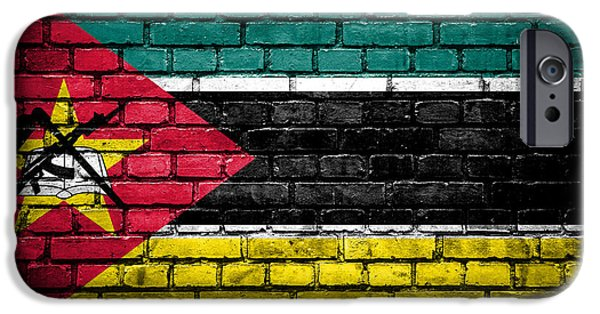 Torn iPhone Cases - Brick wall with painted flag of Mozambique iPhone Case by Aleksandar Mijatovic