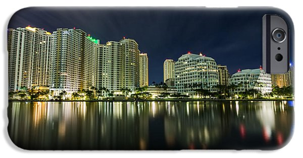 Beach iPhone Cases - Brickell Key Night Cityscape iPhone Case by Andres Leon