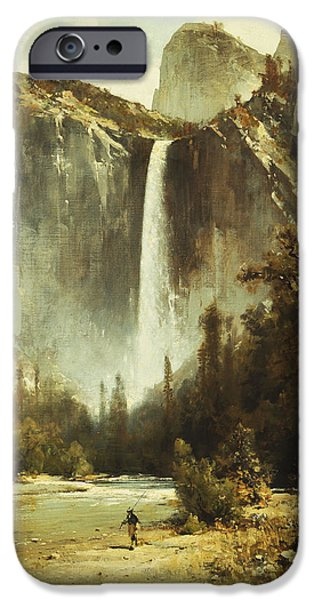 19th Century iPhone Cases - Bridal Falls iPhone Case by Thomas Hill