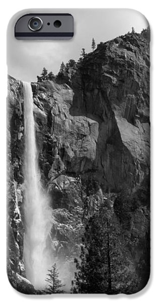 Bridalveil Falls in B and W iPhone Case by Bill Gallagher